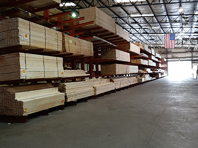 Indoor drive through lumber yard